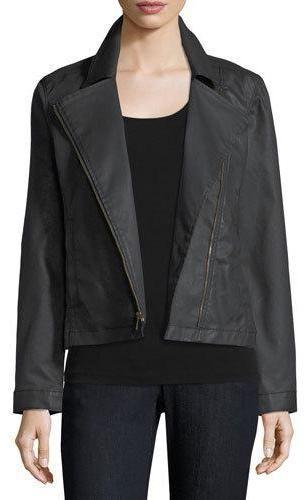 Eileen Fisher Waxed Stretch Cotton Denim Bomber Jacket