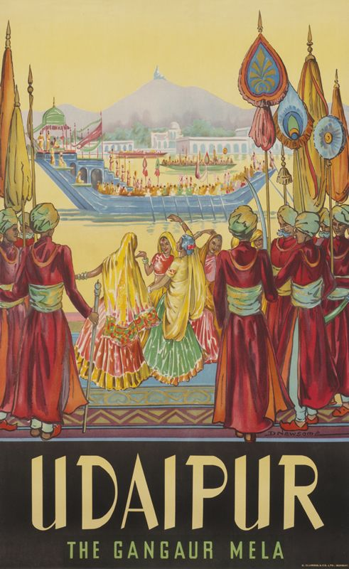 1930 Udaipur The Gangaur Mela ,Indian festival vintage poster