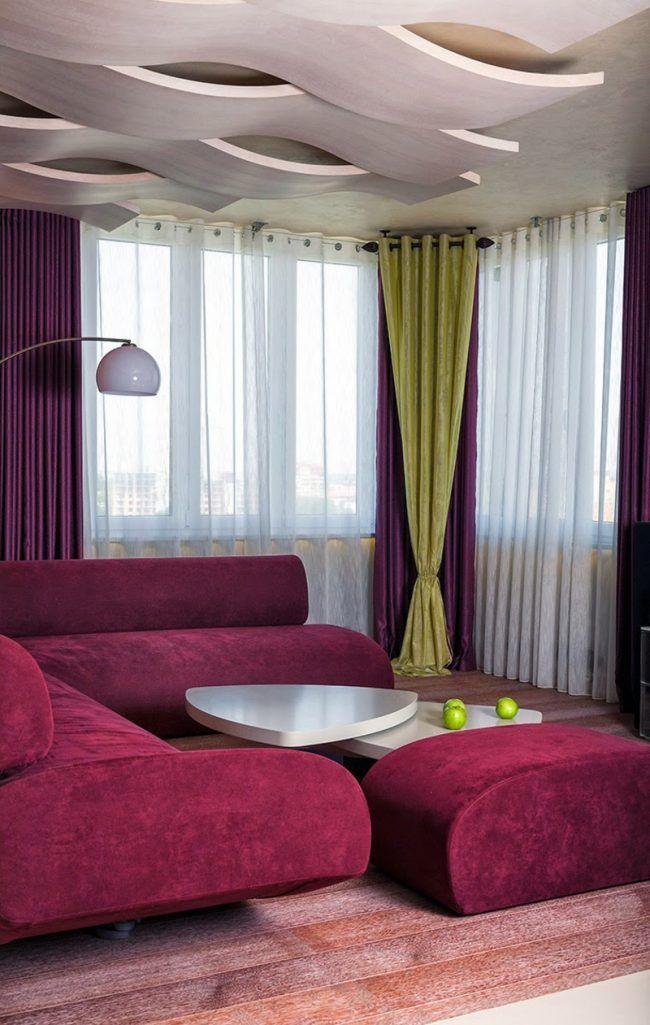 wohnzimmer decken 3d effekt holz fuchsia einrichtung modern | gggg, Hause deko