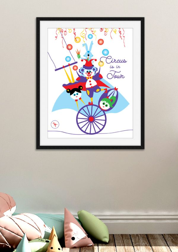 Clown Coloured Bubbles Canvas Wall Art Picture Print