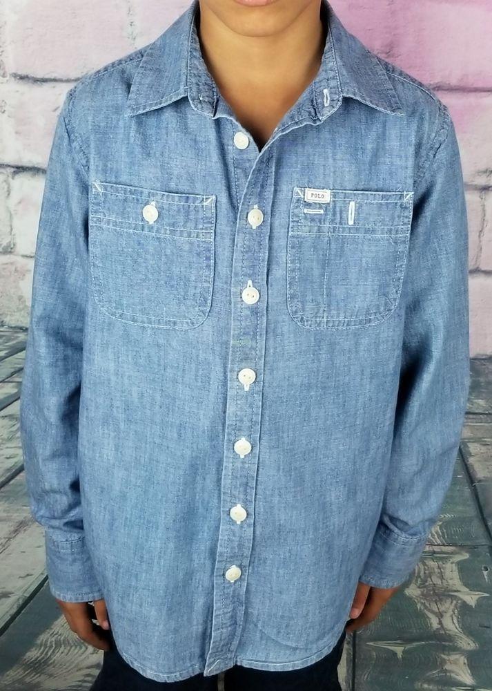 376f2af0e2a Boy s Polo Ralph Lauren Long Sleeve Button Down Denim Look Dress Shirt Size  7  fashion