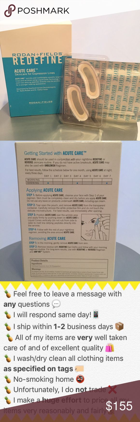 RODAN & FIELSS Acute Care Wrinkle Strips BOTOX IN A BOX! Never used. Selling these because I have  been using and the box is taking up space under my sink! Make sure to use all ten strips IN SAME SPOT FOR EACH APPLICATION! She the directions on tbhe back for check out this website: https://www.rodanandfields.com/pages/introducing-acute-care Rodan ans Fields Other