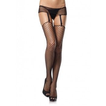 Black Industrial Net Garter Belt and Stockings Set - New at GothicPlus.com Price: $15.00  This 2 piece set includings the black industrial net garter belt with adjustable garters and 1 pair of matching garter stockings.  One size fits most - see size chart. Panties and other items shown sold separately.  #gothic #fashion #steampunk
