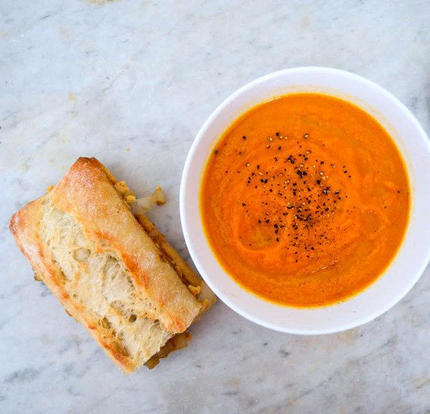 Thursday: Roasted Carrot Soup with Caramelized Onion & Hummus Sandwich   1 Trip To Trader Joe's + $20 = 5 Easy Vegan Dinners