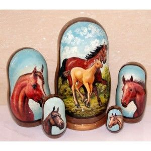 Horses Brown #russiandolls #diy #babushka #matroyshka #handmade #unique #animals #wildlife