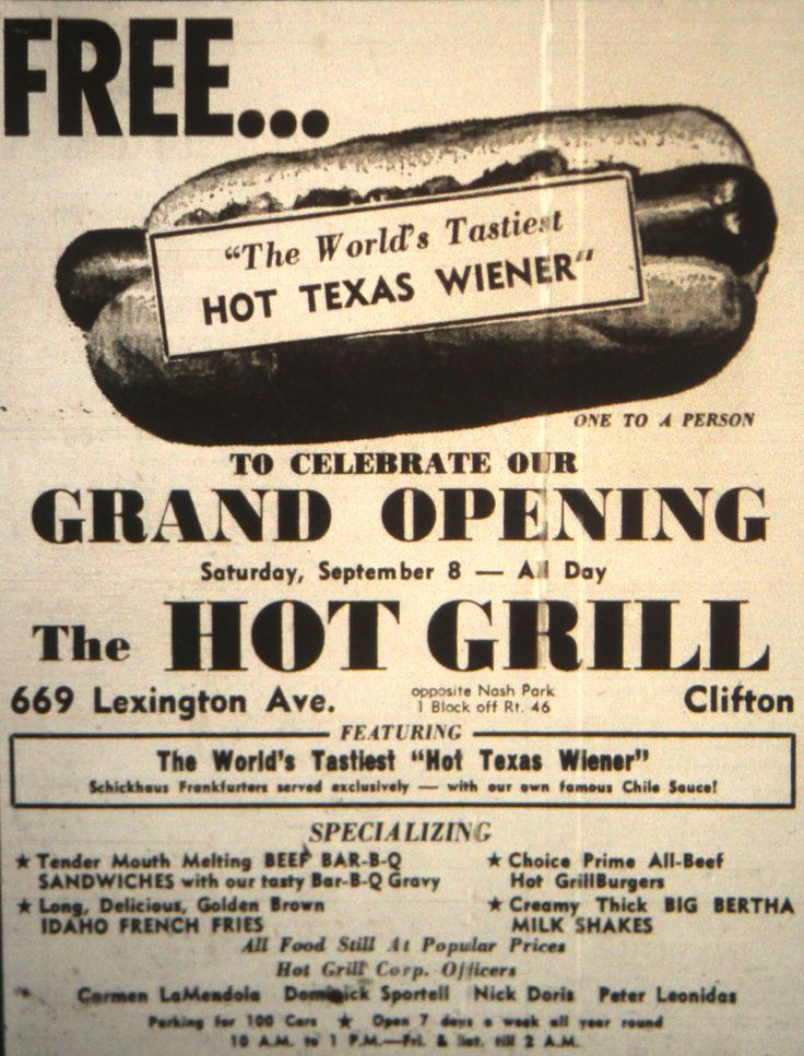 Grand Opening Of The Hot Grill Ad In Clifton Nj 1962
