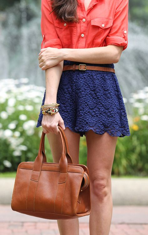 cute: Colors Combos, Coral, Style, Blue Lace, Navy, Spring Outfits, Leather Bags, Lace Shorts, Lace Skirts