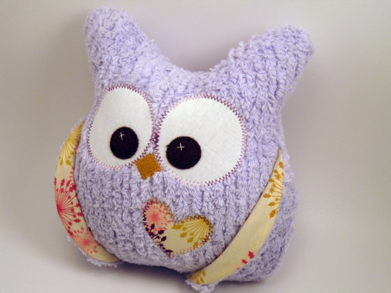 Last One Chubby Chenille Plush Owl READY TO SHIP by aprilfoss, $30.00