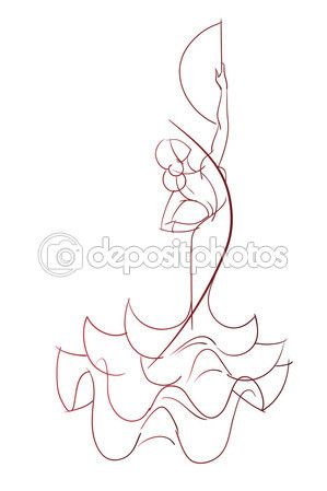 Gesto pose expresivo dibujo de flamenco dancer — Vector de stock © jera #72494917