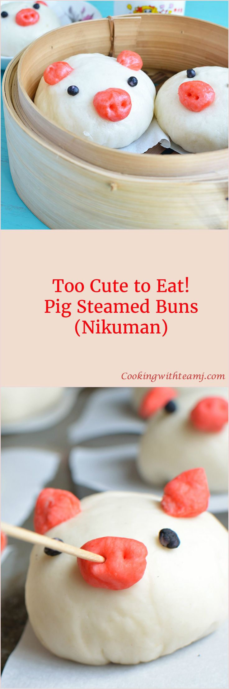 These little piggies went to the market and never came back :(  These guys are too cute to eat! A classic twist on the Pork Steamed Buns (Nikuman). Instructions on the blog.