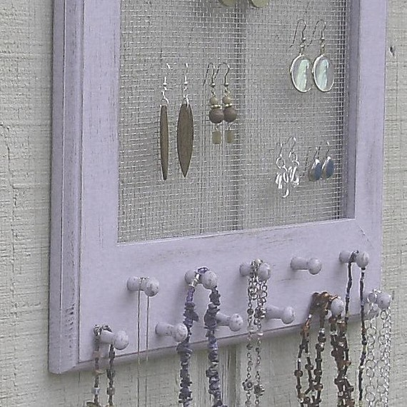 Jewelry Holder {sealed w/ acrylic sealer, 1/8 inch metal mesh backing, saw tooth hangers on back}