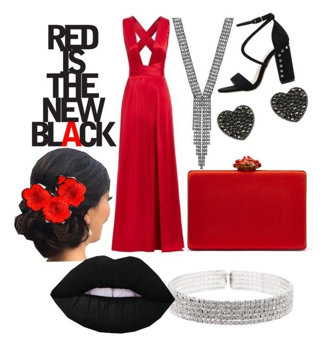 """""""Red is the new black"""" by styles-bykim on Polyvore featuring Natasha, Oscar de la Renta, ootn, reddress and valentine"""
