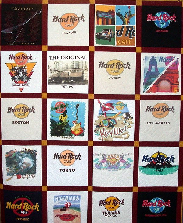 Hard Rock Cafe t-shirt quilt. i need someone to make one for me, i have over 20 shirts!