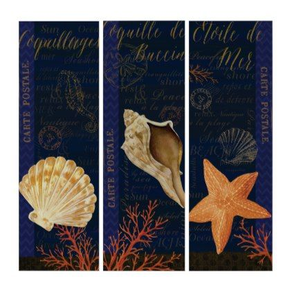 Beautiful Seashell Triptych French  Decor - blue gifts style giftidea diy cyo