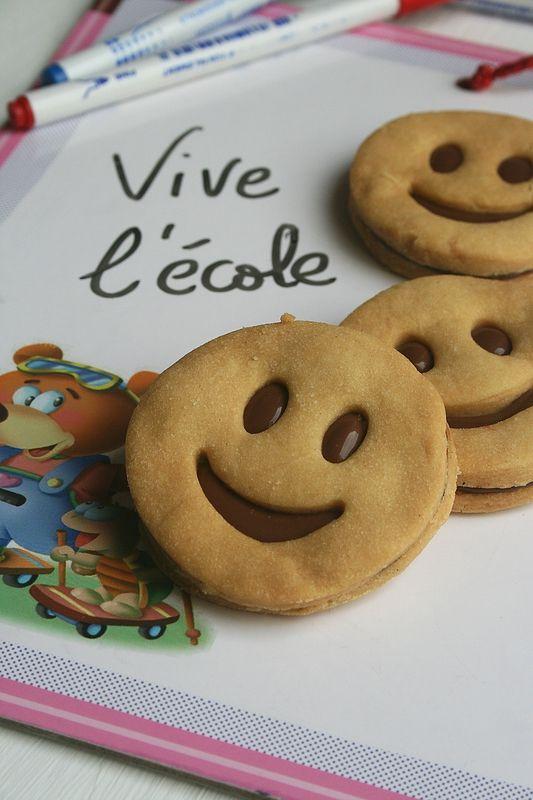 Sablés smily au chocolat pour la première rentrée scolaire de ma coccinelle