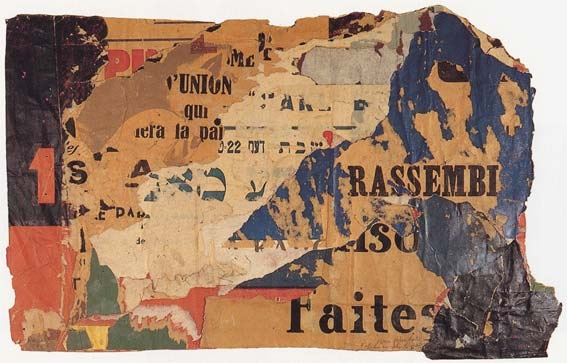 French photographer & artist Raymond Hains saw torn posters as art; Poster in Yiddish, 1950