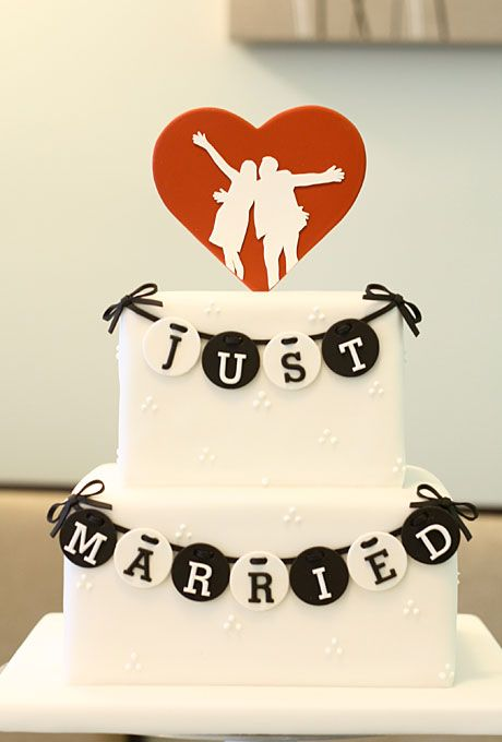Alternative - Wedding Cakes Toppers | Silhouettes are a popular wedding motif, but usually imply a vintage theme. Which is why I love this fresh, modern take on the silhouette by New York City bakery Eat Cake Be Merry.