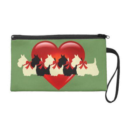 Scottish Terrier black/white red heart/zazle green Wristlet Purse - black gifts unique cool diy customize personalize