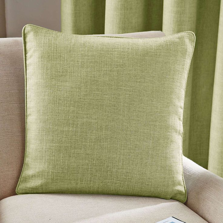 Green Vermont Lined Eyelet Curtains   Dunelm