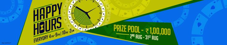 Join Happy Hours rummy promotion from Adda52 and Win Rs.1 Lakh in Cash Prizes!