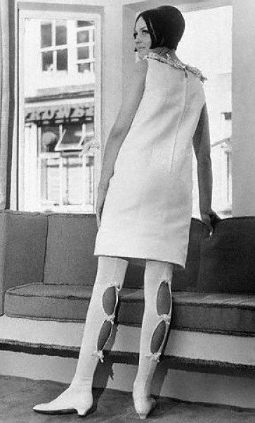 digging on these. 1967 vintage fashion style space age looks white shift dress sleeveless cut out boots go go low heel shoes late 60s era