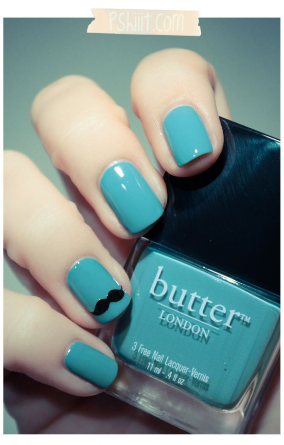 Mustache nails! Butter London - Artful DodgerMoustaches Nails, Nails Art, Nails Design, Blue, Butter London, Colors, Nails Polish, Fingers Nails, Mustaches Nails