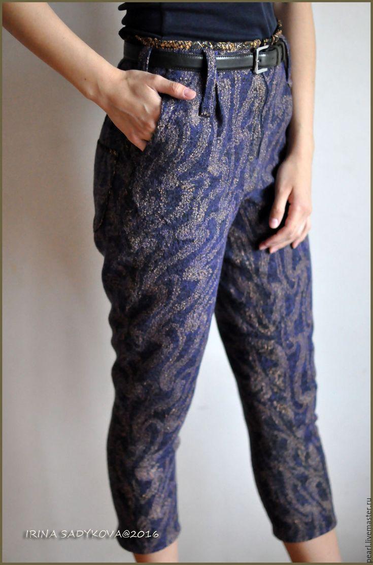 """Nunofelted pants   Купить Брючки валяные """"Прованс"""" - васильковый, орнамент, сиреневый, нуновойлок, войлок, бриджи, брюки"""