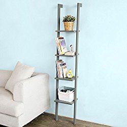 Haotian White Modern Wood Ladder Shelf, 4 Tiers Stand Shelf Wall Shelf ,Bookcase, FRG15-HG,Grey