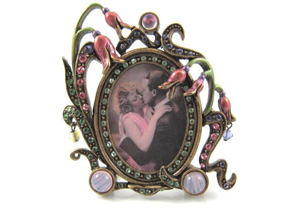 -Vintage Shelly Cooper Sweet Romance Floral Pink And Green Romantic Photo Picture Frame