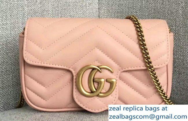 b1848b9bf45 Gucci GG Marmont Matelasse Chevron Super Mini Chain Shoulder Bag 476433  Nude Pink