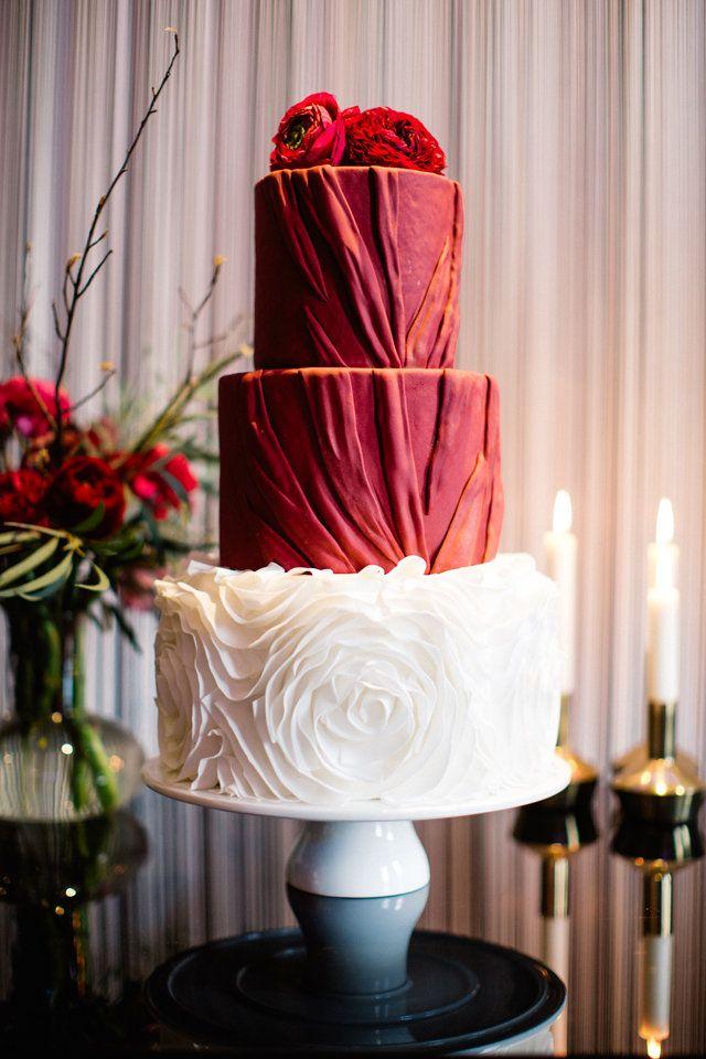 White and Marsala wedding cake