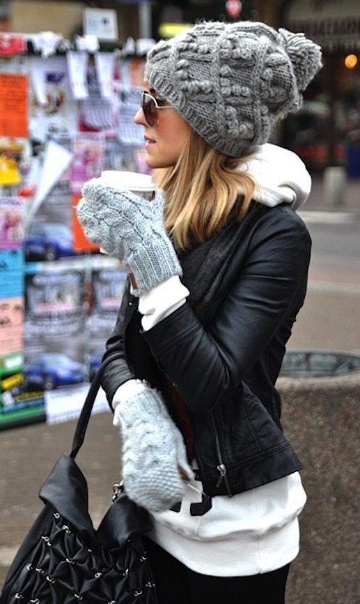 #winter #fashion / leather                                                                                                                                                      Más