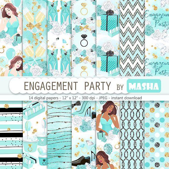 Engagement digital paper: ENGAGEMENT PARTY digital #engagement #digital #paper #party #pattern #planner #stickers #scrapbooking #mint #tiffany #blue #tiffanys #background #download #downloads #cover #supplies #gold #foil #glitter #chevron #polkdots #wedding #ideas #masha #studio #etsy #shop #creative #market