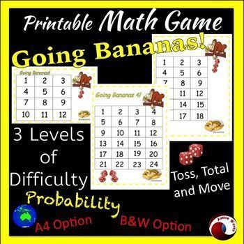 This is Primary Math Game teaching Probability. Cool thinking activity for your Math Center! You'll be amazed at the vast improvement in the students' ability to quickly add the total of the dice. Listen to them discuss their totals, theories and debating