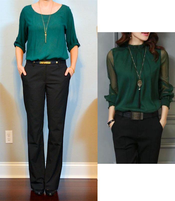 outfit post: green blouse, black pants, black pumps | Outfit Posts | Bloglovin'