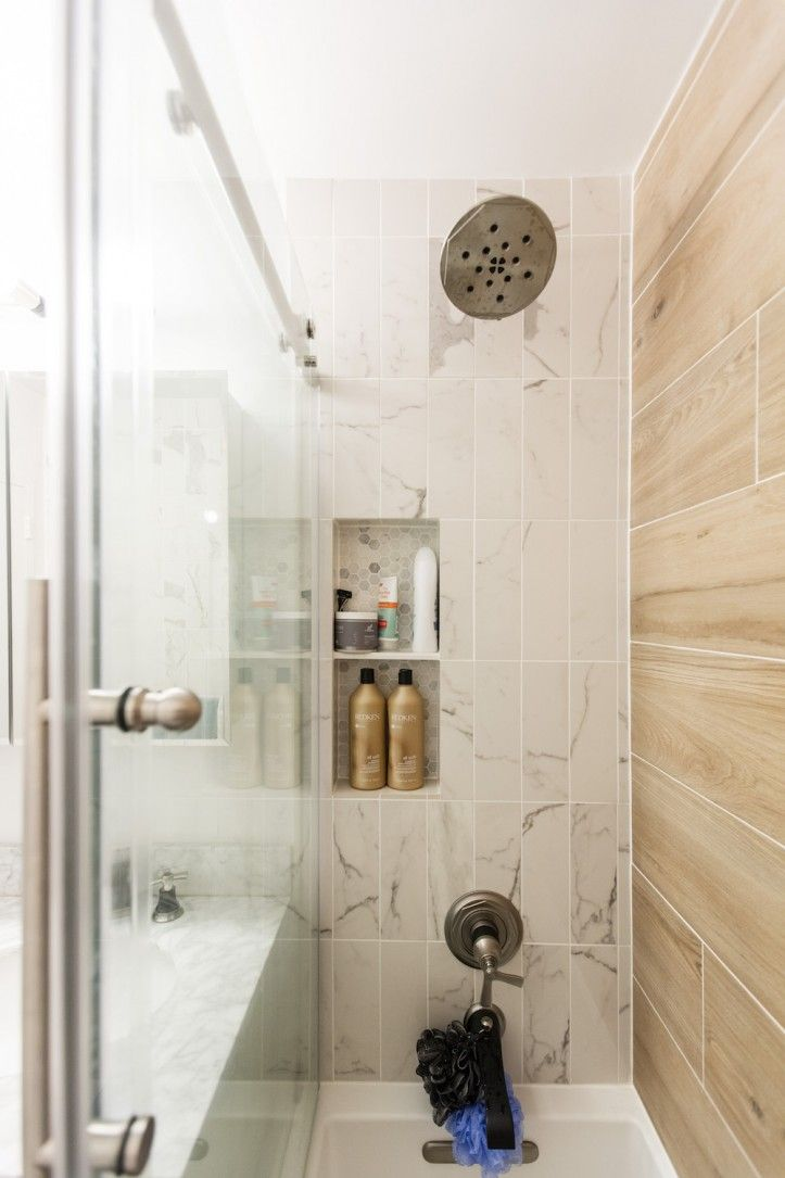 See How A Designing Couple Renovates Their Kips Bay Home Tile Bathroom Shower Wall Tile Bathroom Light Fixtures
