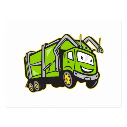 Garbage Rubbish Truck Cartoon Postcard. Postcard designed with an illustration of garbage truck smiling done in cartoon style on isolated white background. #garbagetruck #truck #postcard