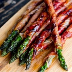 Prosciutto Wrapped Asparagus- Maybe Tyler will like asparagus if it is wrapped in prosciutto?!