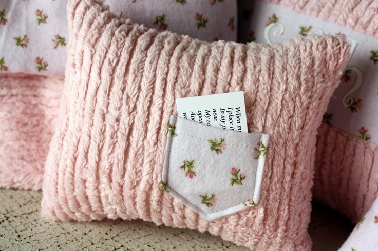 Tooth pillow for girls, shabby chic pink chenille tooth fairy pillow with lavender pocket