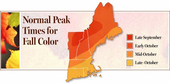 Map of Normal Peak Times for Fall Color in New England New England ...