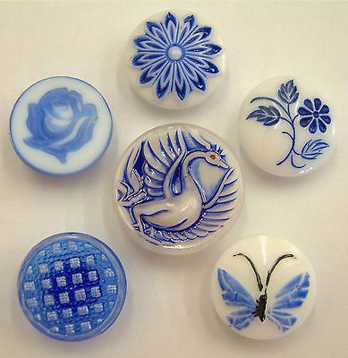 6 Gorgeous Vintage Blue& White Painted Glass Buttons, Floral, Pictorial in Collectables   eBay