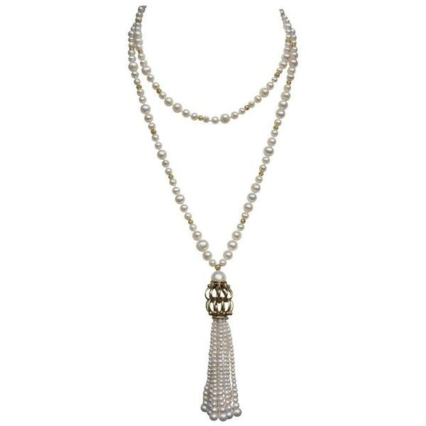 Preowned Marina J Long Pearl Sautoir With Pearl Tassel ($490) ❤ liked on Polyvore featuring jewelry, necklaces, beaded necklaces, multiple, beaded tassel necklaces, long beaded necklace, pearl necklaces, pearl bead necklace and long pearl necklace
