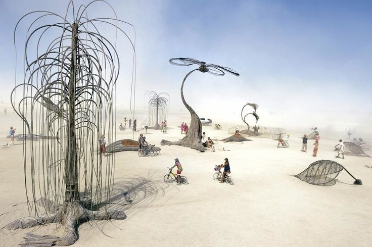 Burners traveling through a metallic forest. :') #burningman #art #travel