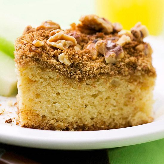 Overnight Coffee Cake - Ricotta cheese keeps this special cake nice and moist. Wheat germ adds a healthy twist to a classic topping of nutmeg, cinnamon, and brown sugar