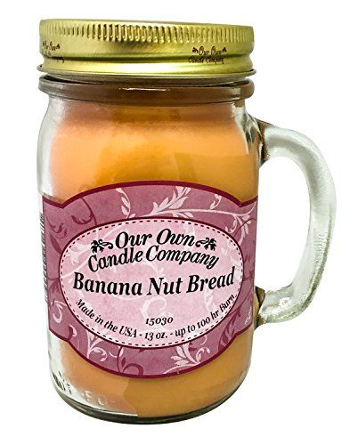 Banana Nut Bread Scented 13 Ounce Mason Jar Candle By Our Own Candle Company