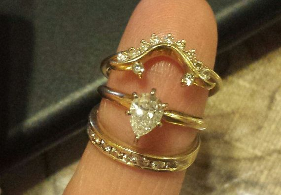 Solitaire Pear Shape Diamond Ring & 2 by MyLittleMexicanShop