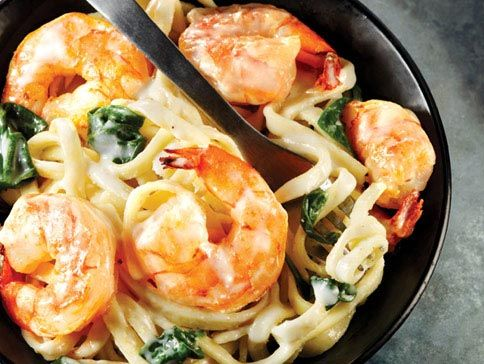 Alfredo Linguine with Shrimp & SpinachSpinach Recipes, Pasta Recipes, Foodies Yummy, Noodles, Shrimp Spinach, Alfredo Linguine, Desserts Appetizers, Spinach Alfredo, Delicious Dinner