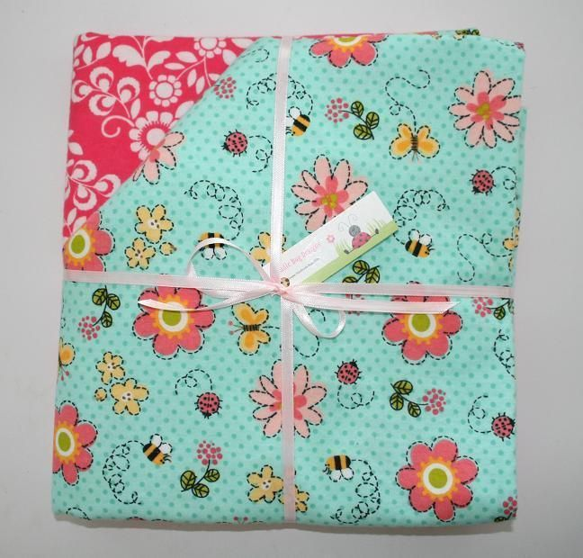 2 Handmade Oversized Cotton Flannel Baby Receiving Blankets Bugs and Flowers #handmade