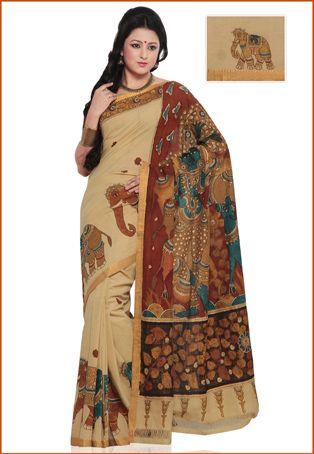 Light Beige and Maroon Cotton Kalamkari Painted Saree with Blouse