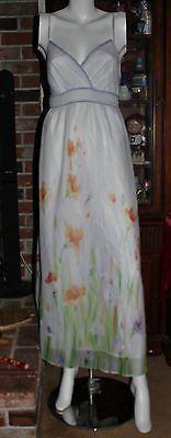 R My Long Halter Sundress Size M White Floral Pattern Spaghetti Straps V Neck